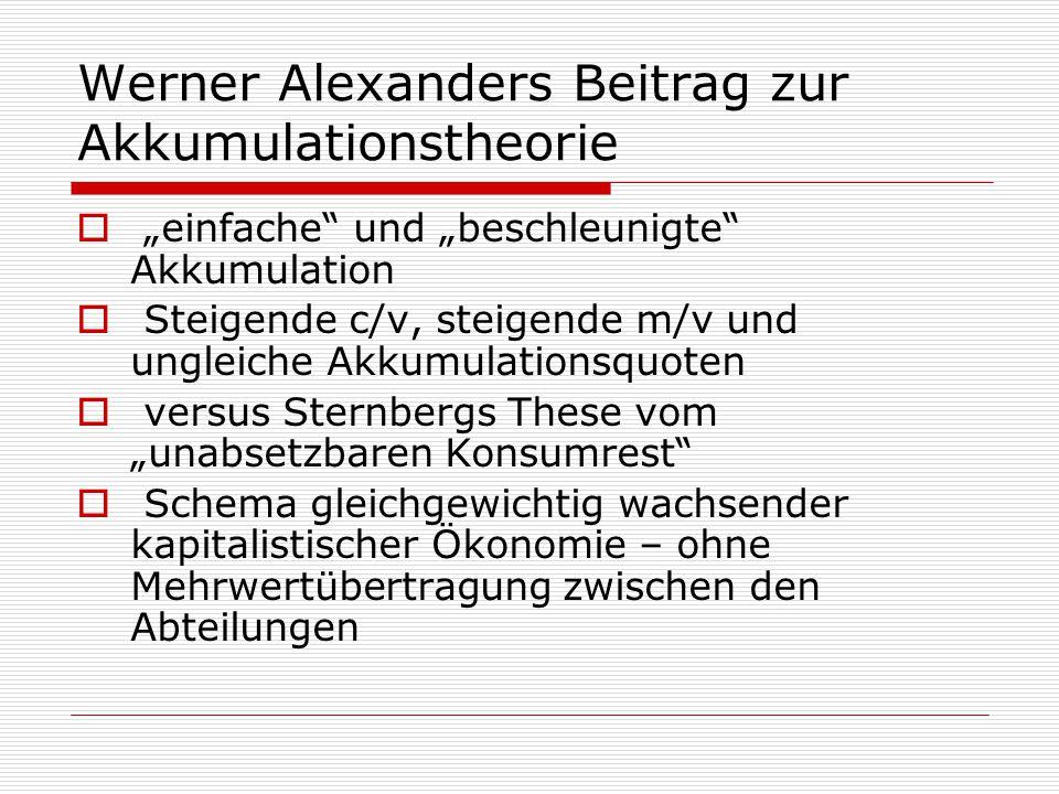 """Werner Alexanders Beitrag zur Akkumulationstheorie  """"einfache"""" und """"beschleunigte"""" Akkumulation  Steigende c/v, steigende m/v und ungleiche Akkumula"""