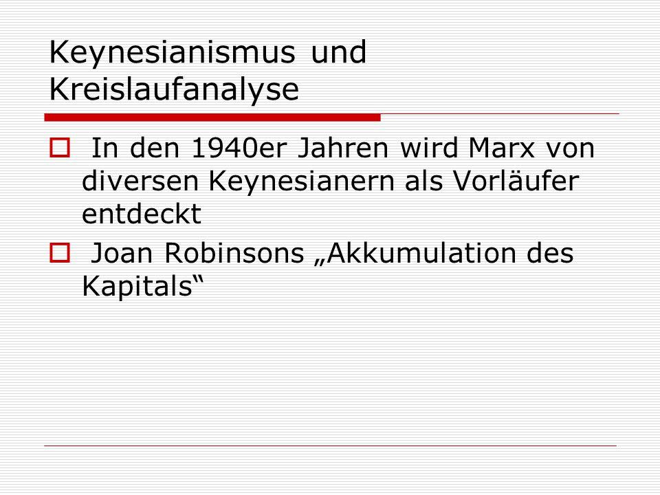"""Keynesianismus und Kreislaufanalyse  In den 1940er Jahren wird Marx von diversen Keynesianern als Vorläufer entdeckt  Joan Robinsons """"Akkumulation d"""