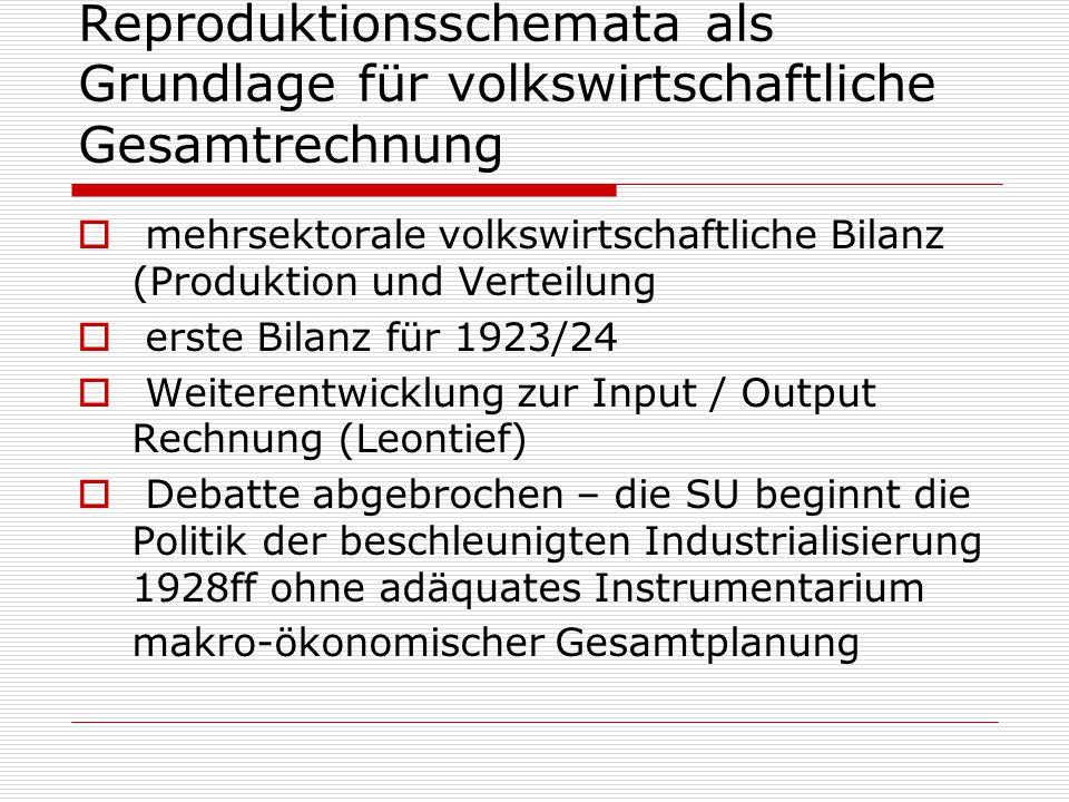 Reproduktionsschemata als Grundlage für volkswirtschaftliche Gesamtrechnung  mehrsektorale volkswirtschaftliche Bilanz (Produktion und Verteilung  e