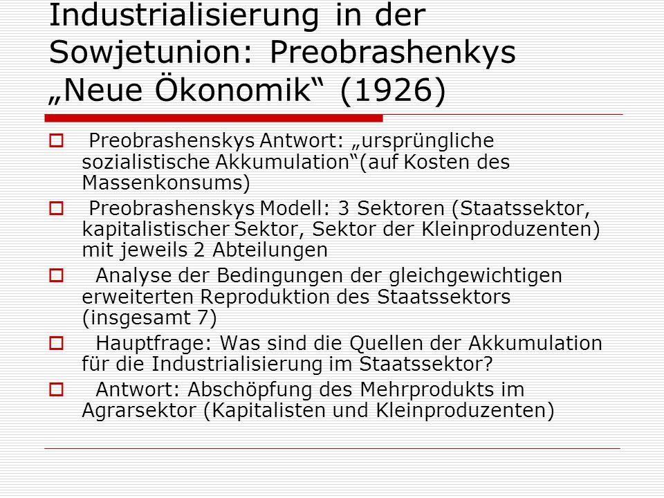 """Industrialisierung in der Sowjetunion: Preobrashenkys """"Neue Ökonomik"""" (1926)  Preobrashenskys Antwort: """"ursprüngliche sozialistische Akkumulation""""(au"""