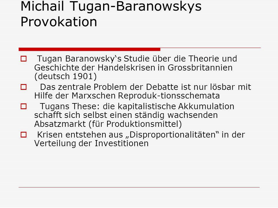 Michail Tugan-Baranowskys Provokation  Tugan Baranowsky's Studie über die Theorie und Geschichte der Handelskrisen in Grossbritannien (deutsch 1901)