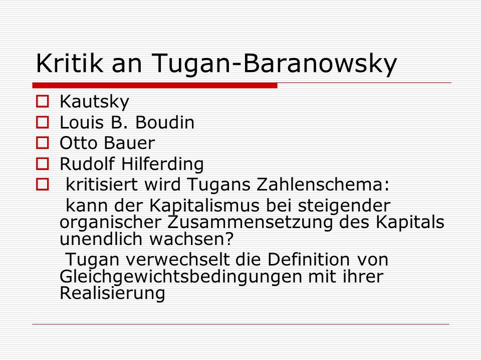 Kritik an Tugan-Baranowsky  Kautsky  Louis B. Boudin  Otto Bauer  Rudolf Hilferding  kritisiert wird Tugans Zahlenschema: kann der Kapitalismus b