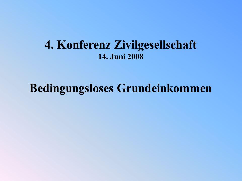 4. Konferenz Zivilgesellschaft 14. Juni 2008 Bedingungsloses Grundeinkommen