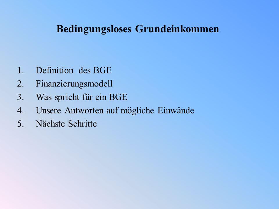 1.Definition des BGE 2.Finanzierungsmodell 3.Was spricht für ein BGE 4.Unsere Antworten auf mögliche Einwände 5.Nächste Schritte