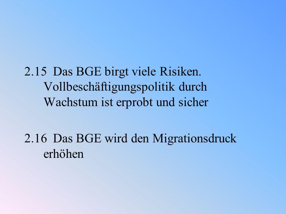 2.15 Das BGE birgt viele Risiken.