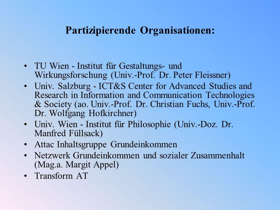 Partizipierende Organisationen: TU Wien - Institut für Gestaltungs- und Wirkungsforschung (Univ.-Prof.