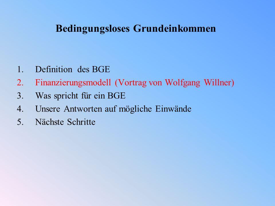 Bedingungsloses Grundeinkommen 1.Definition des BGE 2.Finanzierungsmodell (Vortrag von Wolfgang Willner) 3.Was spricht für ein BGE 4.Unsere Antworten auf mögliche Einwände 5.Nächste Schritte