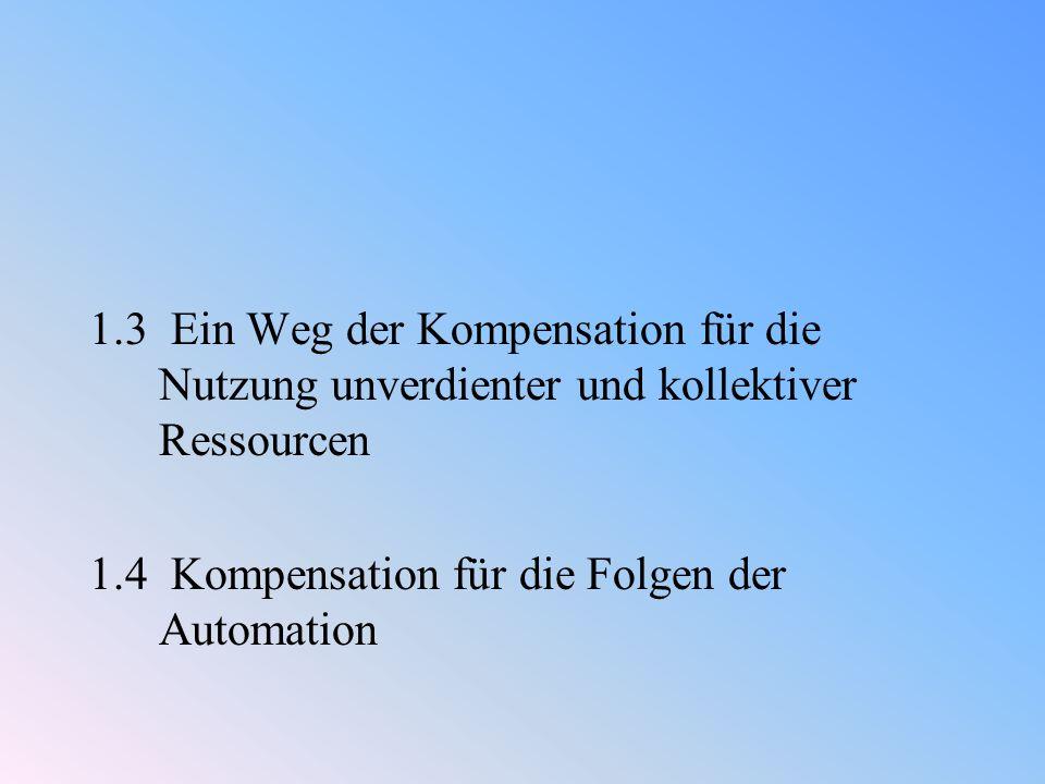 1.3 Ein Weg der Kompensation für die Nutzung unverdienter und kollektiver Ressourcen 1.4 Kompensation für die Folgen der Automation