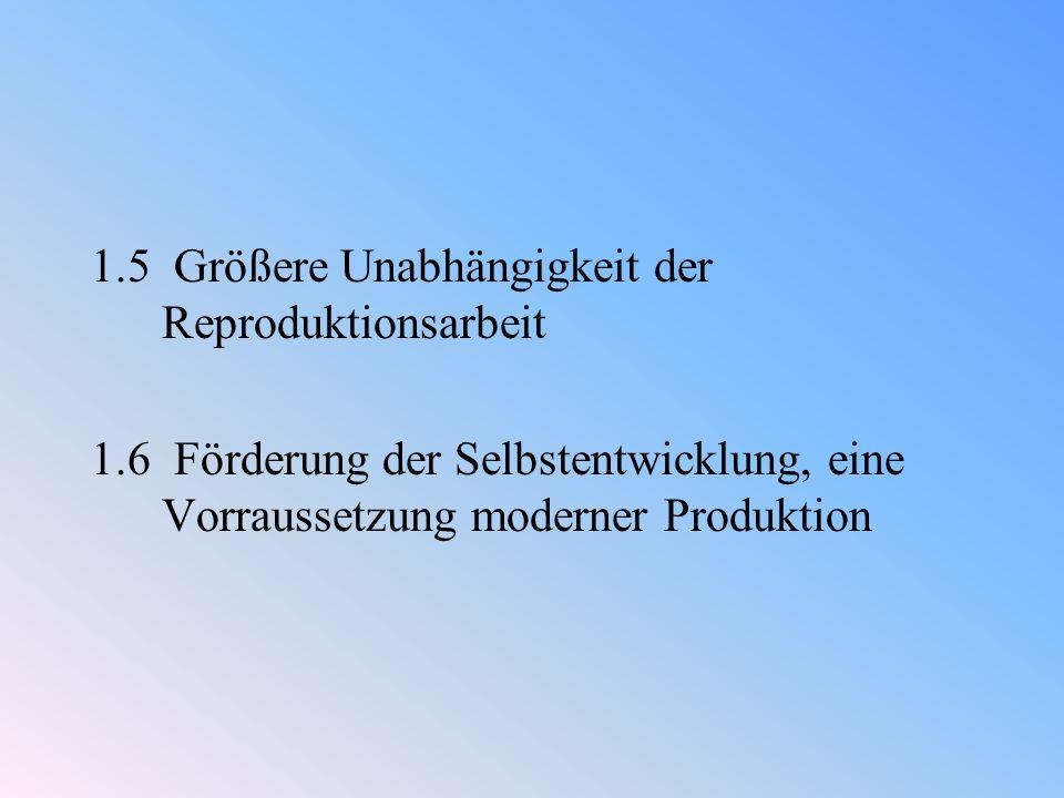 1.5 Größere Unabhängigkeit der Reproduktionsarbeit 1.6 Förderung der Selbstentwicklung, eine Vorraussetzung moderner Produktion