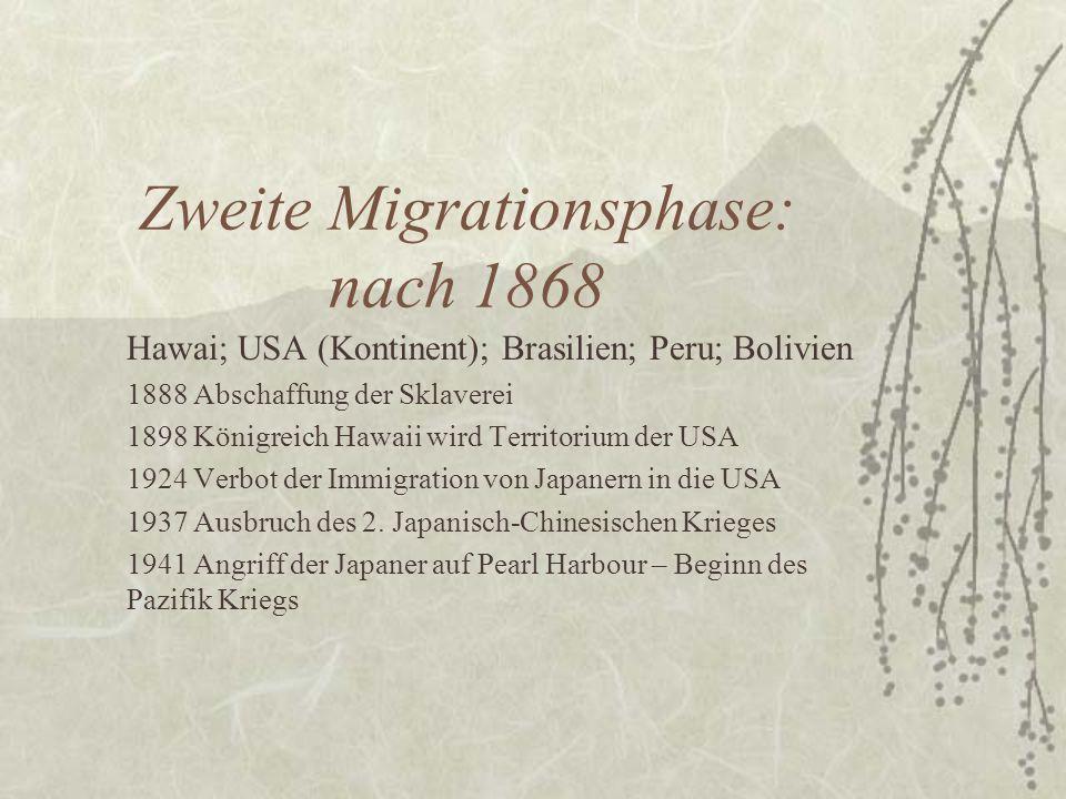 Zweite Migrationsphase: nach 1868 Hawai; USA (Kontinent); Brasilien; Peru; Bolivien 1888 Abschaffung der Sklaverei 1898 Königreich Hawaii wird Territo