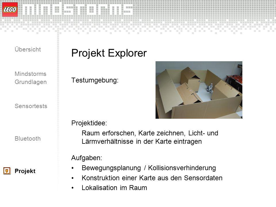 Übersicht Mindstorms Grundlagen Sensortests Bluetooth Projekt Projekt Explorer Testumgebung: Projektidee: Raum erforschen, Karte zeichnen, Licht- und