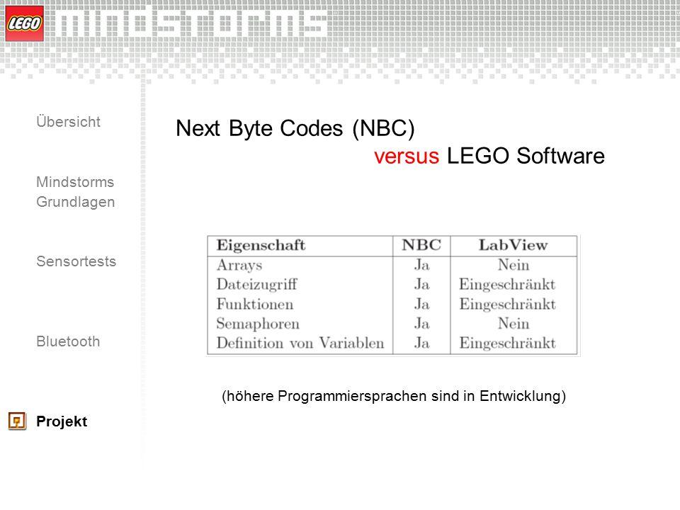Übersicht Mindstorms Grundlagen Sensortests Bluetooth Projekt Next Byte Codes (NBC) versus LEGO Software (höhere Programmiersprachen sind in Entwicklu