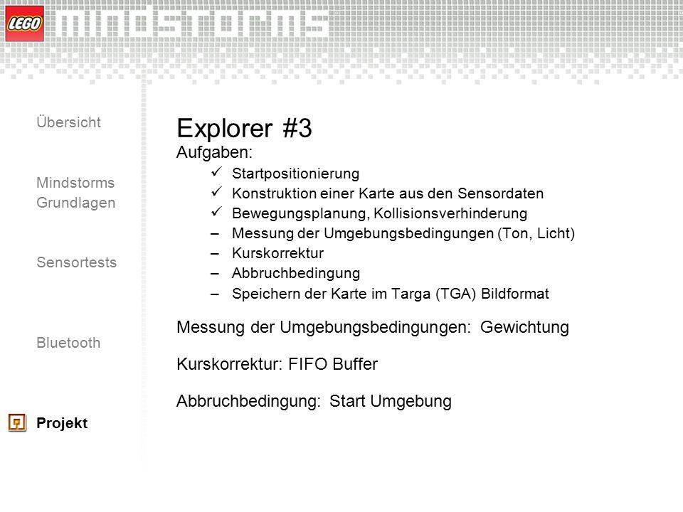 Übersicht Mindstorms Grundlagen Sensortests Bluetooth Projekt Explorer #3 Aufgaben: Startpositionierung Konstruktion einer Karte aus den Sensordaten B