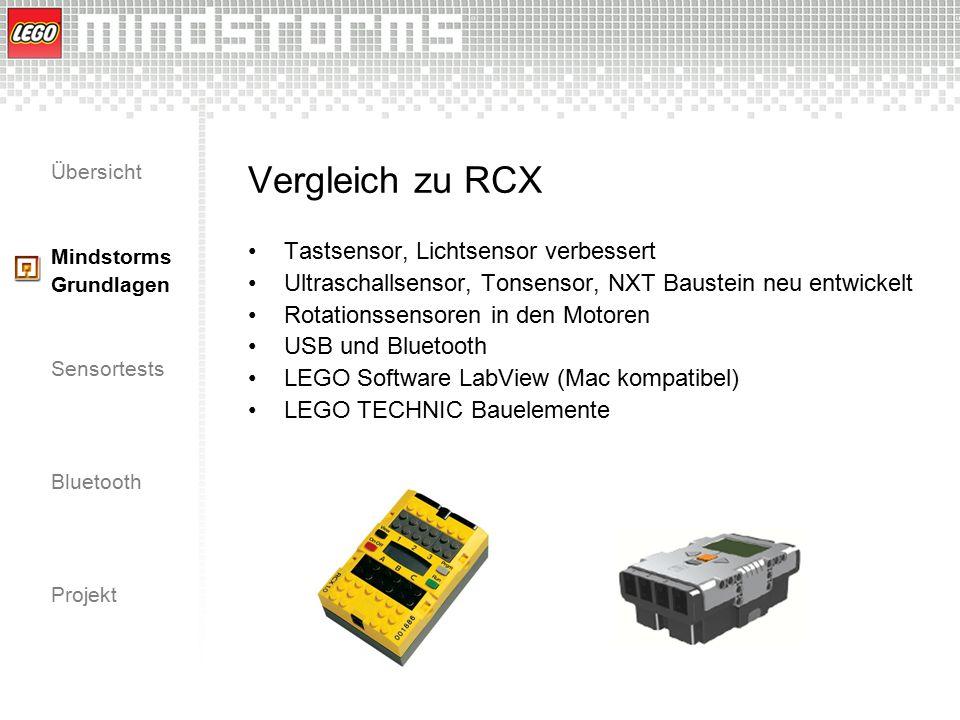 Übersicht Mindstorms Grundlagen Sensortests Bluetooth Projekt Vergleich zu RCX Tastsensor, Lichtsensor verbessert Ultraschallsensor, Tonsensor, NXT Ba