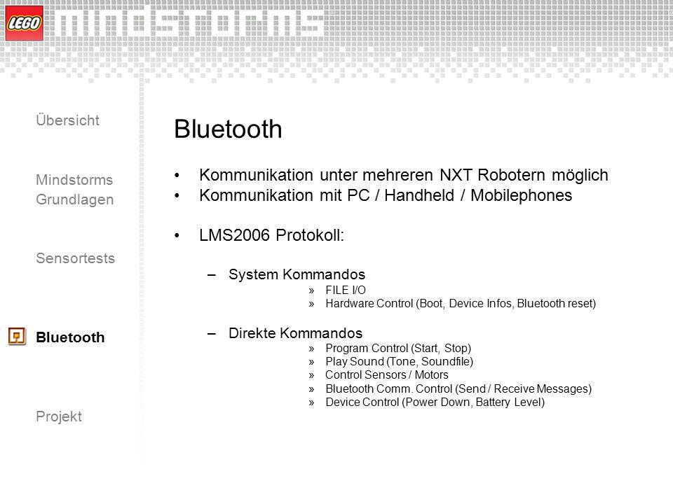 Übersicht Mindstorms Grundlagen Sensortests Bluetooth Projekt Bluetooth Kommunikation unter mehreren NXT Robotern möglich Kommunikation mit PC / Handh