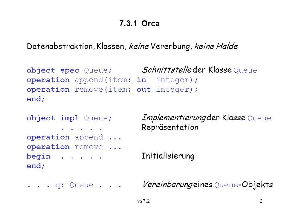 vs7.23 Parametermechanismen: Wertparameter in Ergebnisparameter out Variablenparameter shared (für Objekte) Prozesstyp: process Producer(q: shared Queue);.....