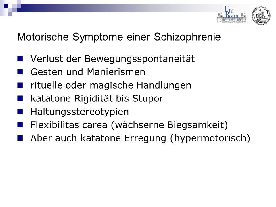 Motorische Symptome einer Schizophrenie Verlust der Bewegungsspontaneität Gesten und Manierismen rituelle oder magische Handlungen katatone Rigidität