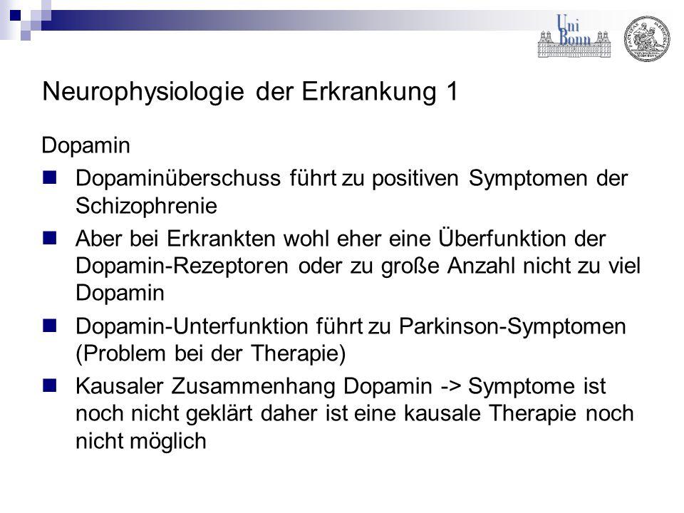 Neurophysiologie der Erkrankung 1 Dopamin Dopaminüberschuss führt zu positiven Symptomen der Schizophrenie Aber bei Erkrankten wohl eher eine Überfunk