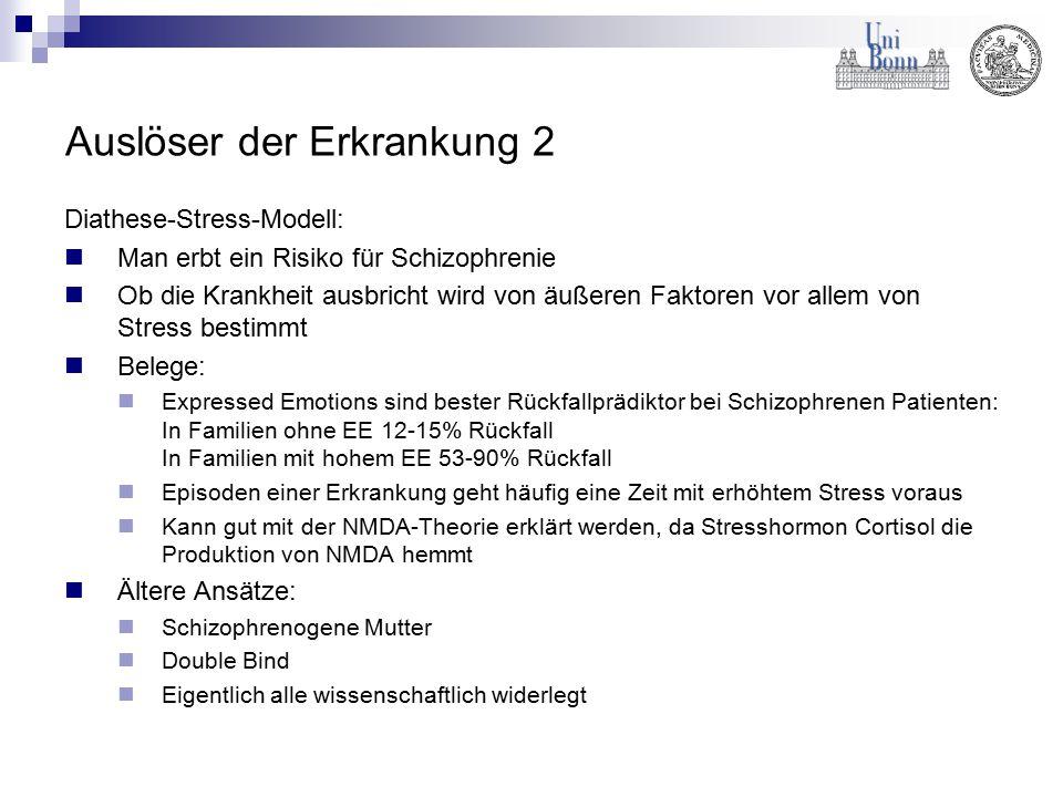 Auslöser der Erkrankung 2 Diathese-Stress-Modell: Man erbt ein Risiko für Schizophrenie Ob die Krankheit ausbricht wird von äußeren Faktoren vor allem