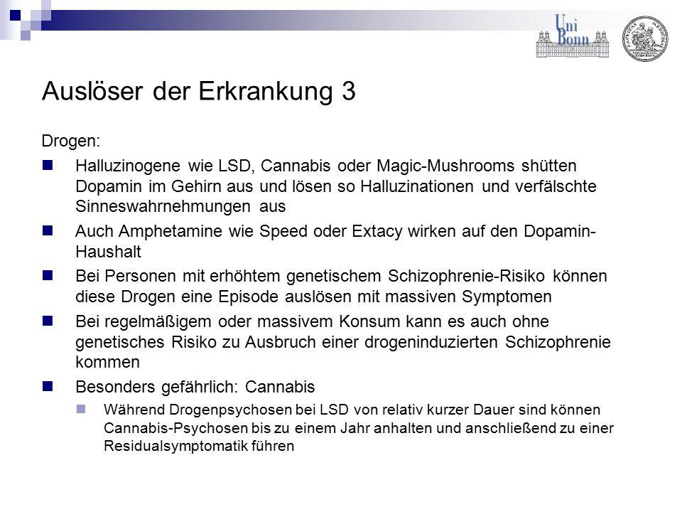 Auslöser der Erkrankung 3 Drogen: Halluzinogene wie LSD, Cannabis oder Magic-Mushrooms shütten Dopamin im Gehirn aus und lösen so Halluzinationen und