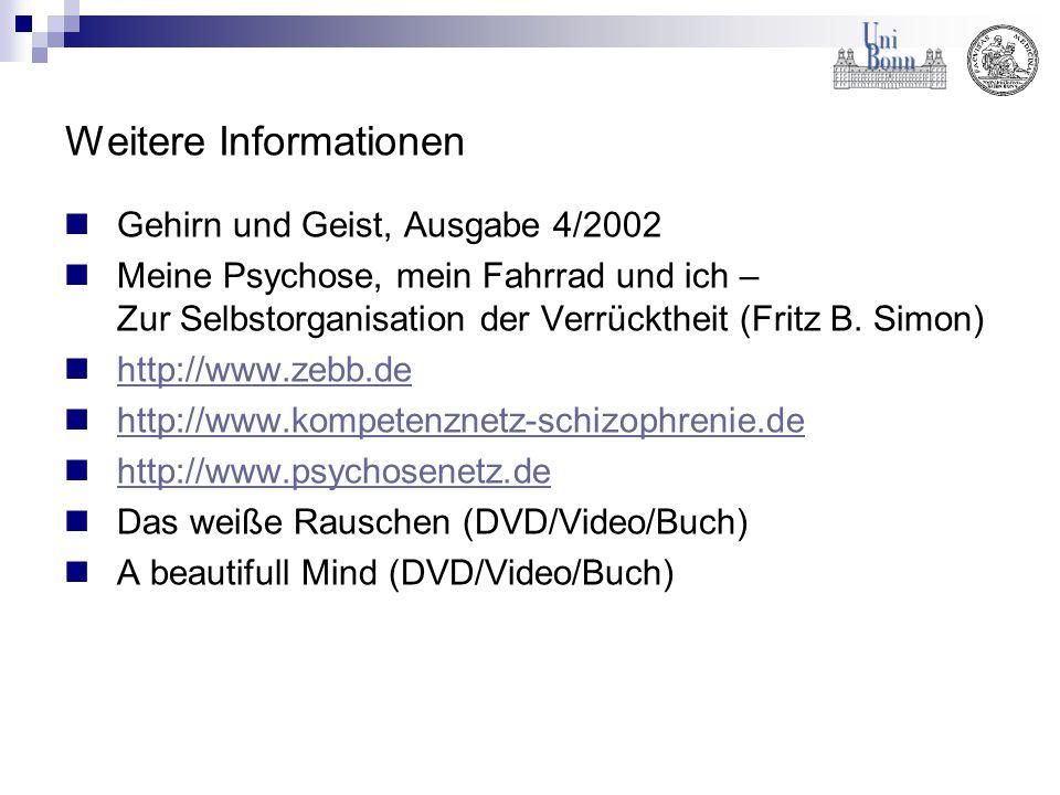 Weitere Informationen Gehirn und Geist, Ausgabe 4/2002 Meine Psychose, mein Fahrrad und ich – Zur Selbstorganisation der Verrücktheit (Fritz B. Simon)