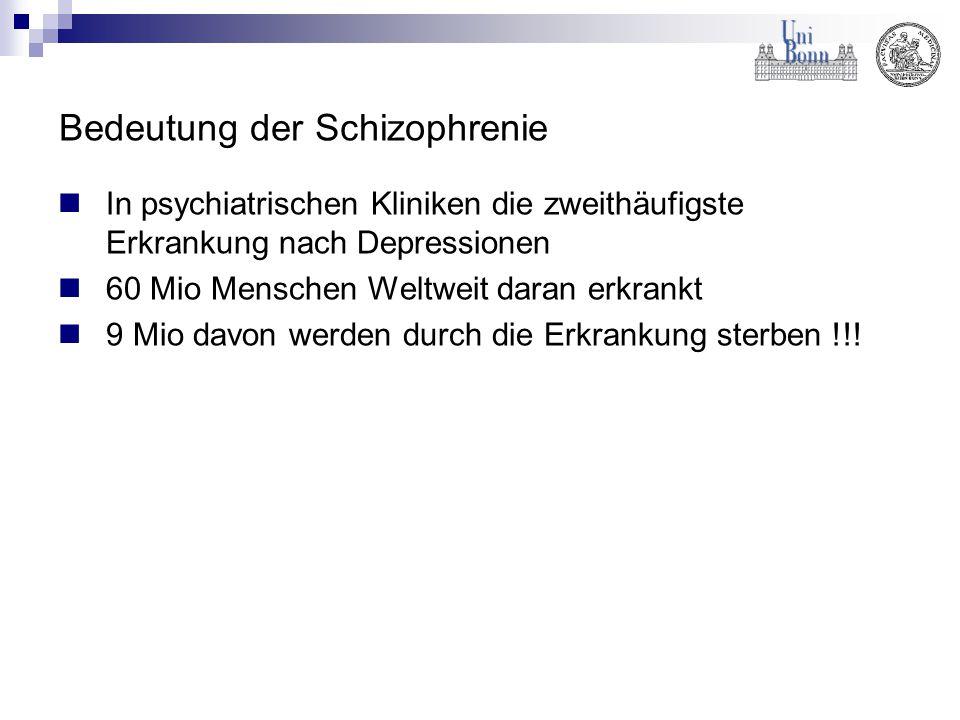 Bedeutung der Schizophrenie In psychiatrischen Kliniken die zweithäufigste Erkrankung nach Depressionen 60 Mio Menschen Weltweit daran erkrankt 9 Mio