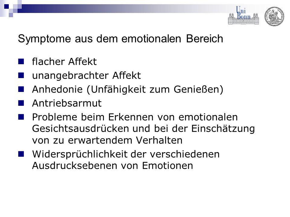 Symptome aus dem emotionalen Bereich flacher Affekt unangebrachter Affekt Anhedonie (Unfähigkeit zum Genießen) Antriebsarmut Probleme beim Erkennen vo