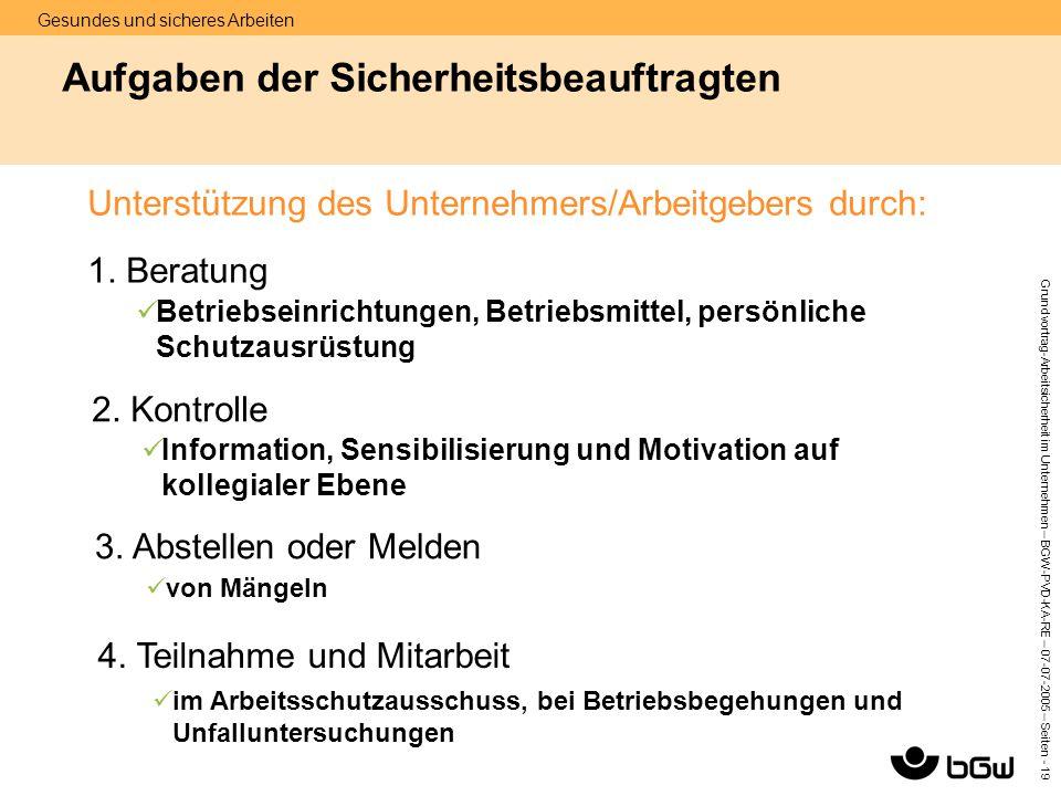 Gesundes und sicheres Arbeiten Grundvortrag-Arbeitsicherheit im Unternehmen – BGW-PVD-KA-RE – 07-07 -2005 – Seiten - 19 Aufgaben der Sicherheitsbeauft