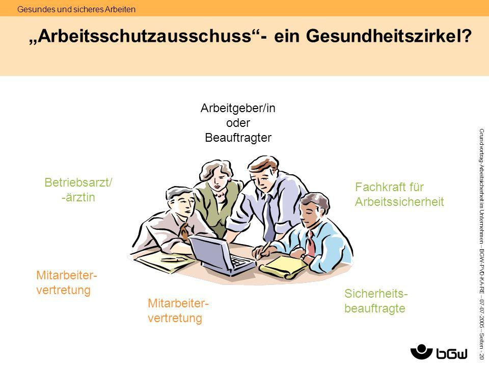 """Gesundes und sicheres Arbeiten Grundvortrag-Arbeitsicherheit im Unternehmen – BGW-PVD-KA-RE – 07-07 -2005 – Seiten - 20 """"Arbeitsschutzausschuss""""- ein"""