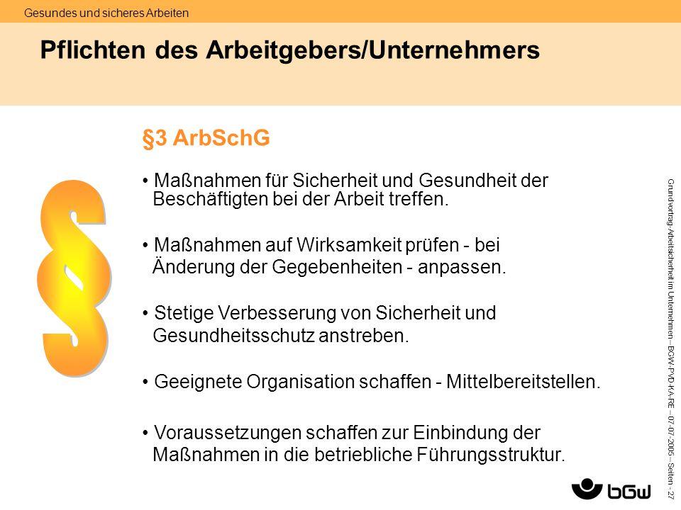 Gesundes und sicheres Arbeiten Grundvortrag-Arbeitsicherheit im Unternehmen – BGW-PVD-KA-RE – 07-07 -2005 – Seiten - 27 Pflichten des Arbeitgebers/Unt