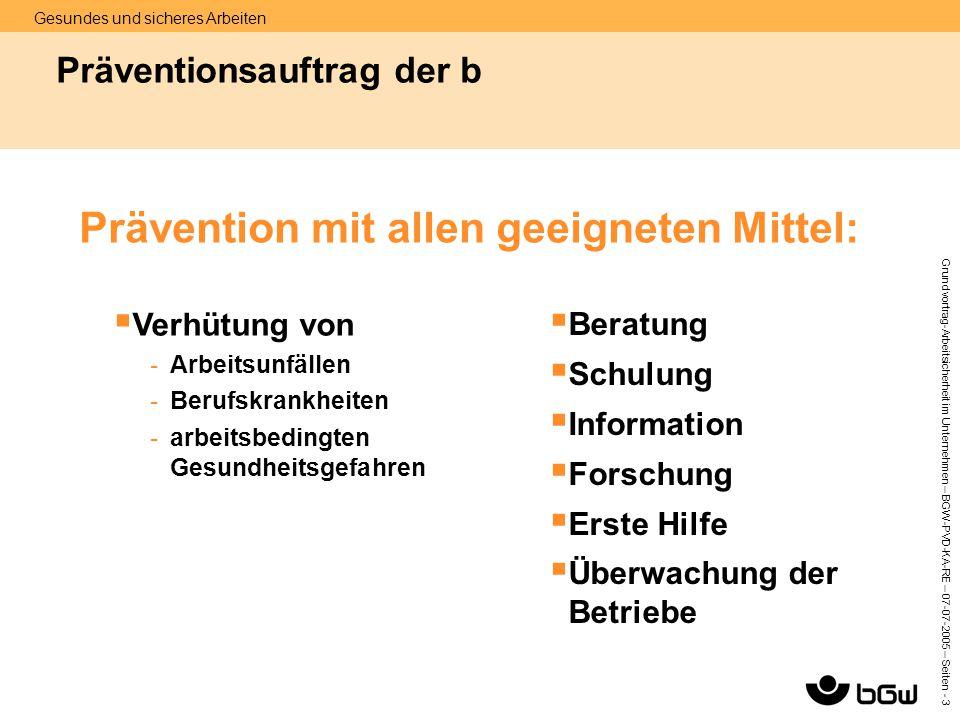 Gesundes und sicheres Arbeiten Grundvortrag-Arbeitsicherheit im Unternehmen – BGW-PVD-KA-RE – 07-07 -2005 – Seiten - 3 Präventionsauftrag der b Präven