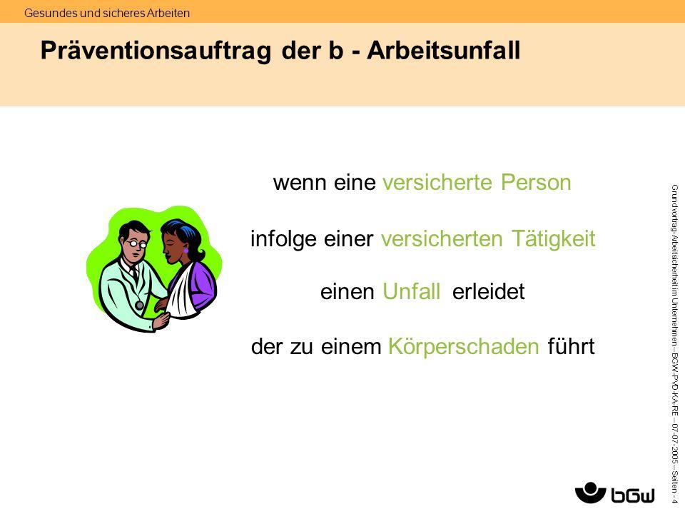 Gesundes und sicheres Arbeiten Grundvortrag-Arbeitsicherheit im Unternehmen – BGW-PVD-KA-RE – 07-07 -2005 – Seiten - 4 Präventionsauftrag der b - Arbe