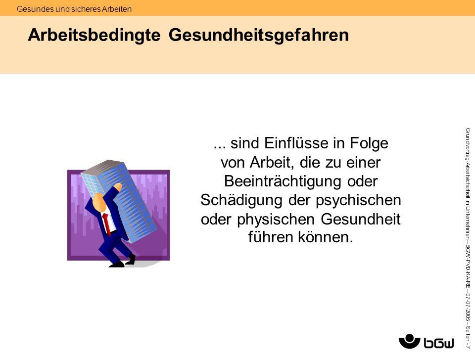 Gesundes und sicheres Arbeiten Grundvortrag-Arbeitsicherheit im Unternehmen – BGW-PVD-KA-RE – 07-07 -2005 – Seiten - 7 Arbeitsbedingte Gesundheitsgefa