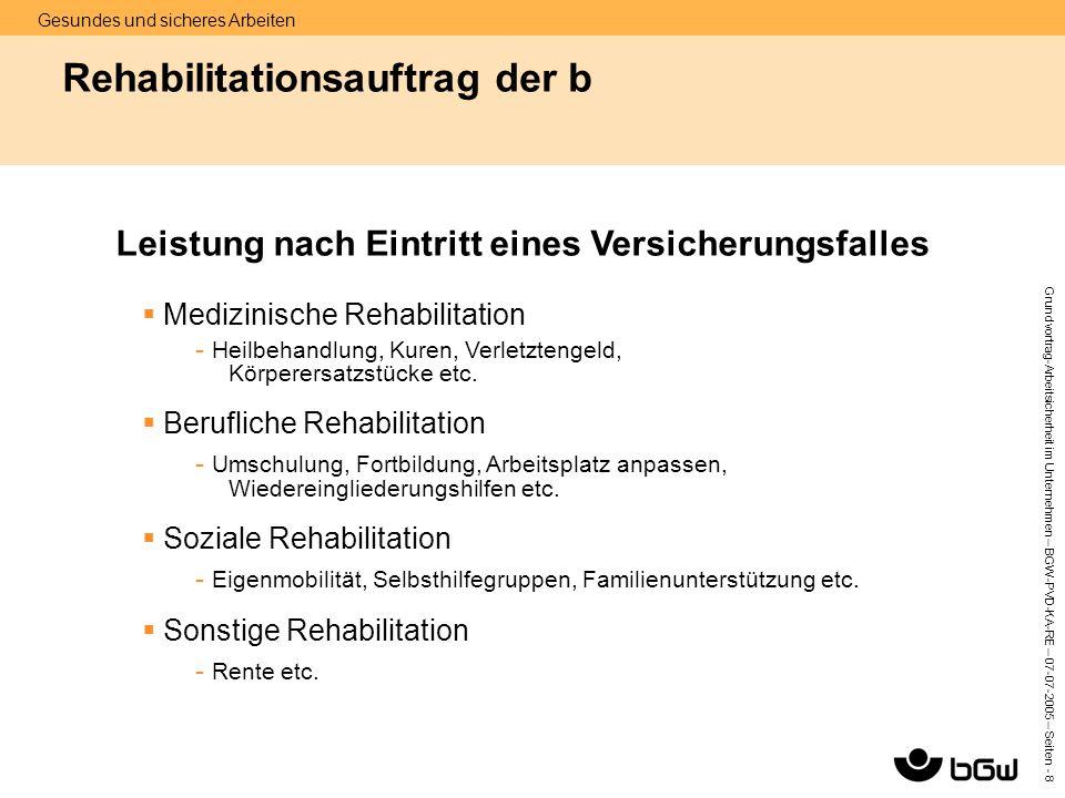 Gesundes und sicheres Arbeiten Grundvortrag-Arbeitsicherheit im Unternehmen – BGW-PVD-KA-RE – 07-07 -2005 – Seiten - 8 Rehabilitationsauftrag der b 