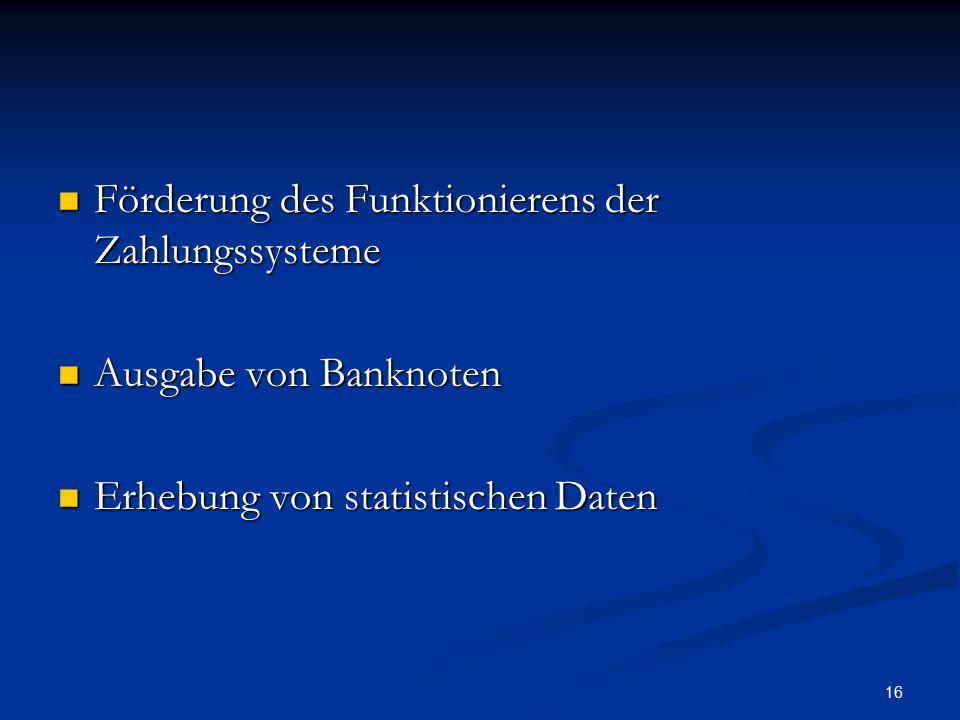 16 Förderung des Funktionierens der Zahlungssysteme Förderung des Funktionierens der Zahlungssysteme Ausgabe von Banknoten Ausgabe von Banknoten Erheb