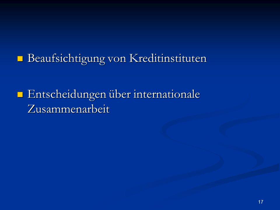 17 Beaufsichtigung von Kreditinstituten Beaufsichtigung von Kreditinstituten Entscheidungen über internationale Zusammenarbeit Entscheidungen über int