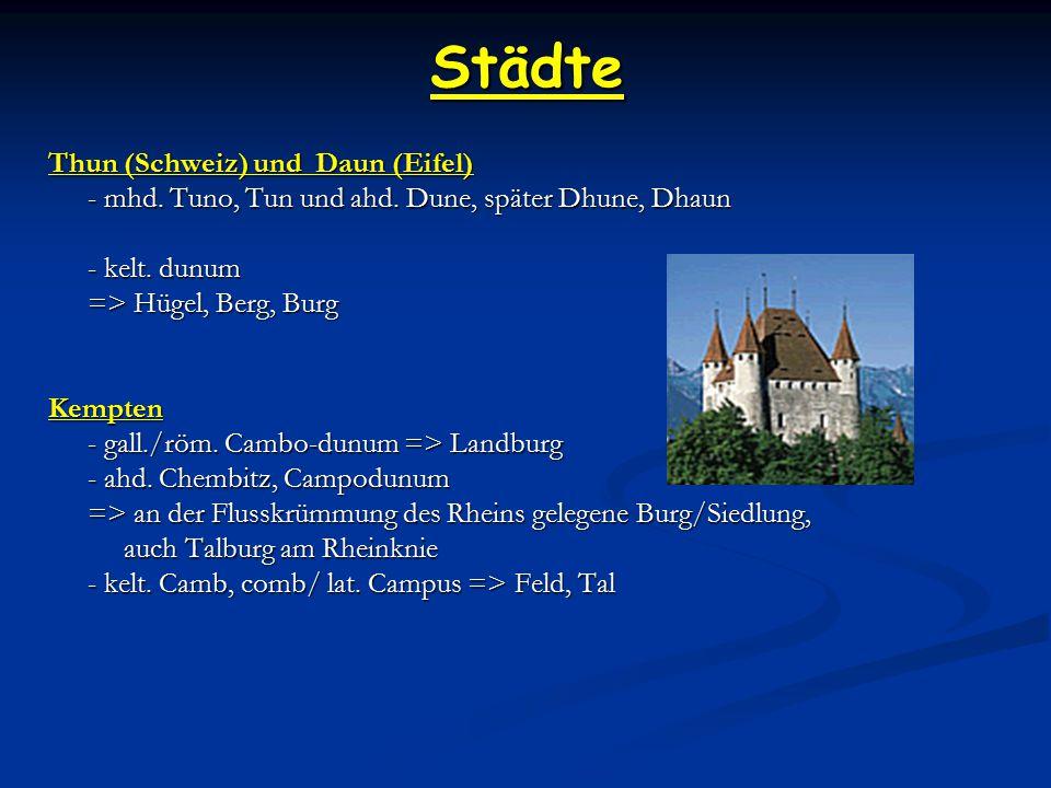 Städte Thun (Schweiz) und Daun (Eifel) - mhd.Tuno, Tun und ahd.