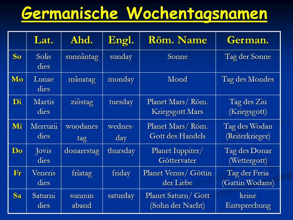 Germanische Wochentagsnamen Lat.Ahd.Engl.Röm. Name German.