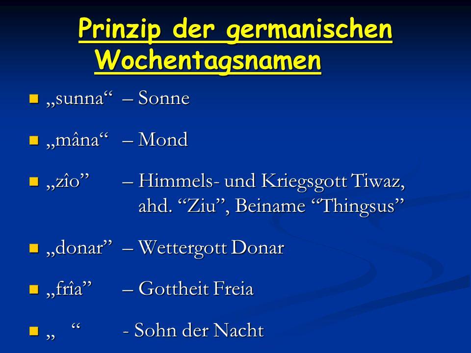 """Prinzip der germanischen Wochentagsnamen """"sunna – Sonne """"sunna – Sonne """"mâna – Mond """"mâna – Mond """"zîo – Himmels- und Kriegsgott Tiwaz, ahd."""