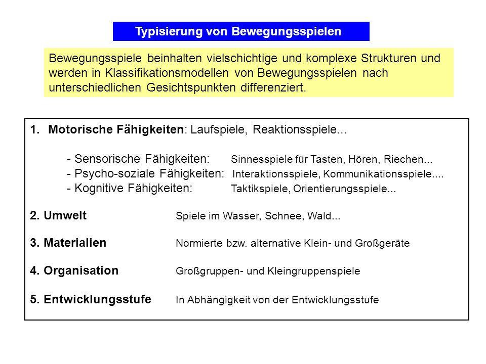 1.Motorische Fähigkeiten: Laufspiele, Reaktionsspiele... - Sensorische Fähigkeiten: Sinnesspiele für Tasten, Hören, Riechen... - Psycho-soziale Fähigk