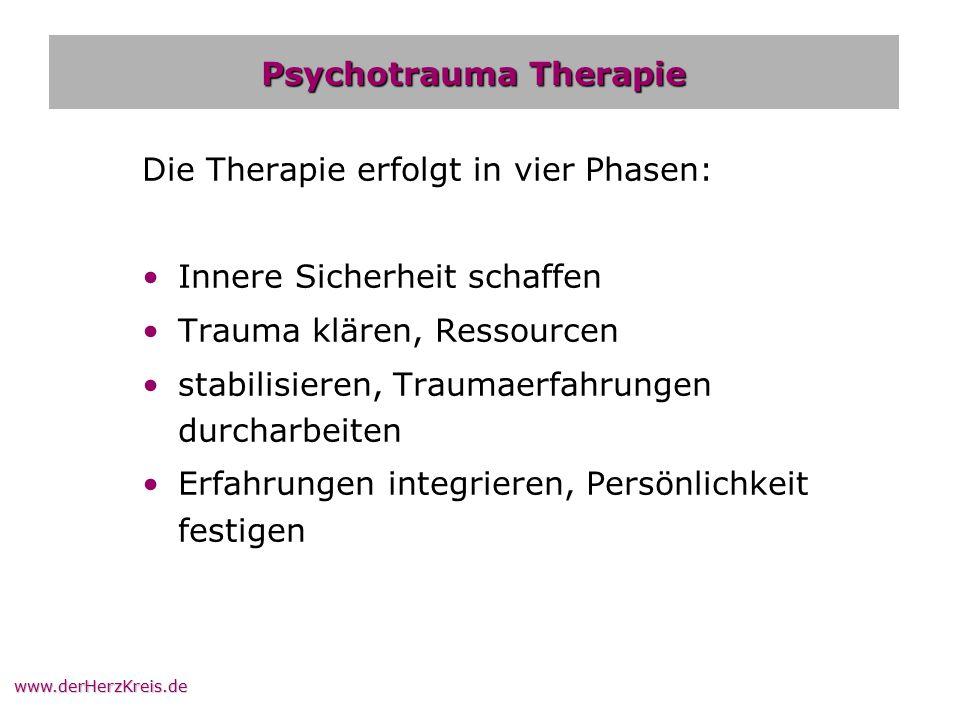 www.derHerzKreis.de Psychotrauma Therapie Die Therapie erfolgt in vier Phasen: Innere Sicherheit schaffen Trauma klären, Ressourcen stabilisieren, Tra