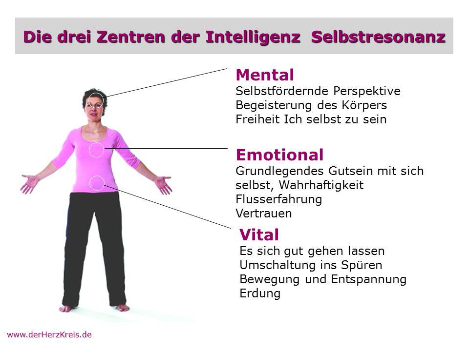www.derHerzKreis.de Die drei Zentren der Intelligenz Selbstresonanz Mental Selbstfördernde Perspektive Begeisterung des Körpers Freiheit Ich selbst zu