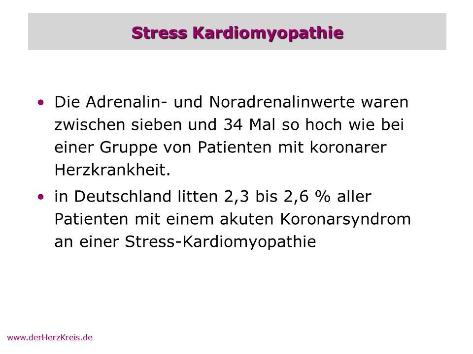 www.derHerzKreis.de Stress Kardiomyopathie Die Adrenalin- und Noradrenalinwerte waren zwischen sieben und 34 Mal so hoch wie bei einer Gruppe von Pati