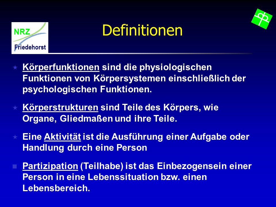 NRZ Friedehorst Definitionen  Körperfunktionen sind die physiologischen Funktionen von Körpersystemen einschließlich der psychologischen Funktionen.