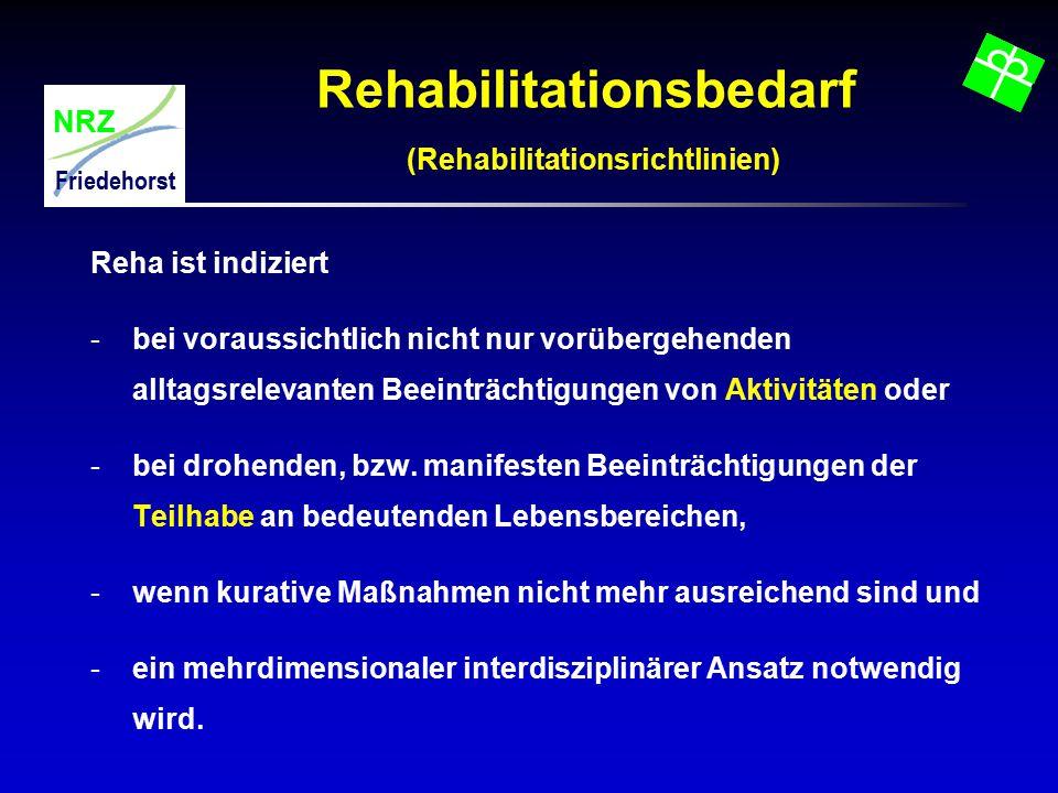 NRZ Friedehorst Rehabilitationsbedarf (Rehabilitationsrichtlinien) Reha ist indiziert -bei voraussichtlich nicht nur vorübergehenden alltagsrelevanten