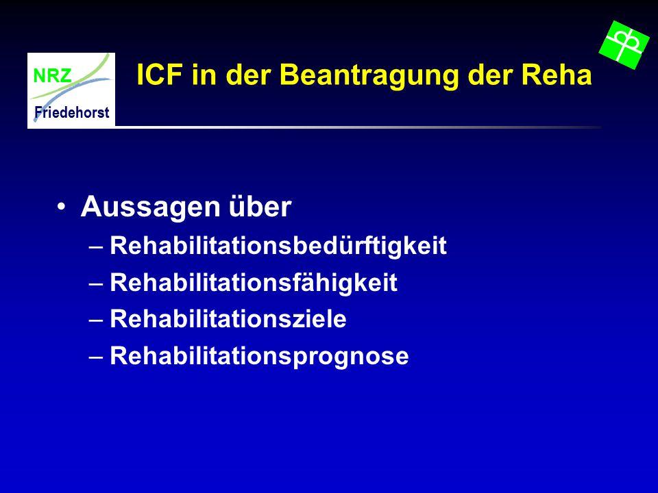 NRZ Friedehorst ICF in der Beantragung der Reha Aussagen über –Rehabilitationsbedürftigkeit –Rehabilitationsfähigkeit –Rehabilitationsziele –Rehabilit