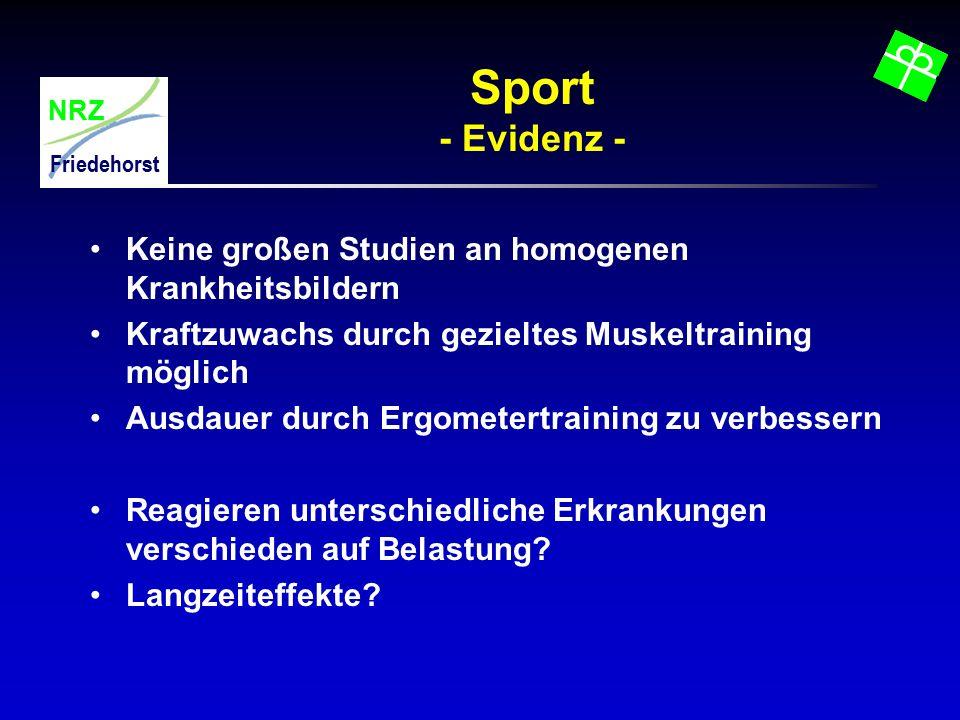 NRZ Friedehorst Sport - Evidenz - Keine großen Studien an homogenen Krankheitsbildern Kraftzuwachs durch gezieltes Muskeltraining möglich Ausdauer dur