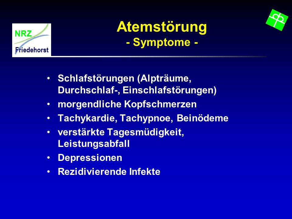 NRZ Friedehorst Atemstörung - Symptome - Schlafstörungen (Alpträume, Durchschlaf-, Einschlafstörungen) morgendliche Kopfschmerzen Tachykardie, Tachypn