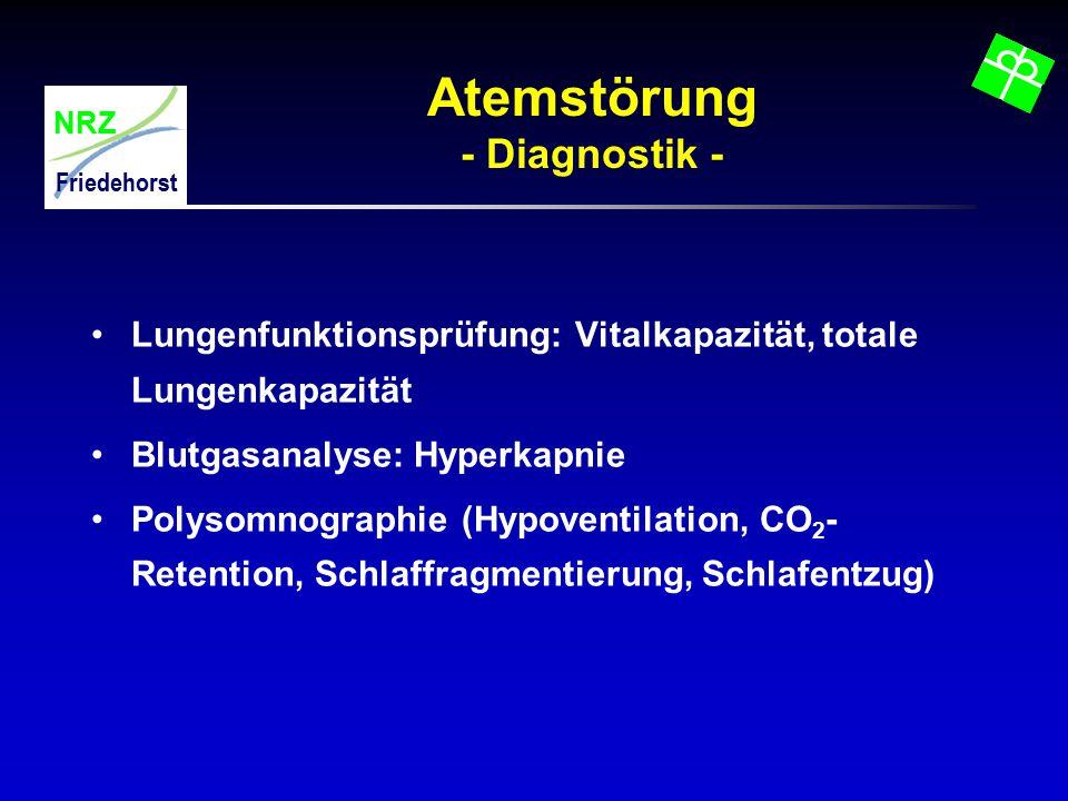 NRZ Friedehorst Atemstörung - Diagnostik - Lungenfunktionsprüfung: Vitalkapazität, totale Lungenkapazität Blutgasanalyse: Hyperkapnie Polysomnographie
