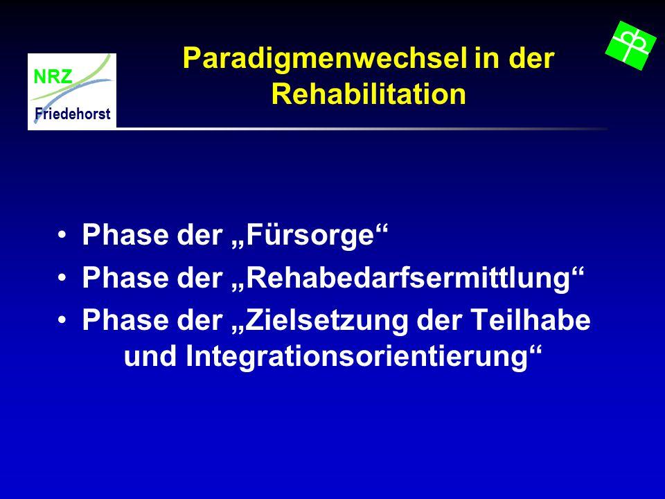 """NRZ Friedehorst Paradigmenwechsel in der Rehabilitation Phase der """"Fürsorge"""" Phase der """"Rehabedarfsermittlung"""" Phase der """"Zielsetzung der Teilhabe und"""